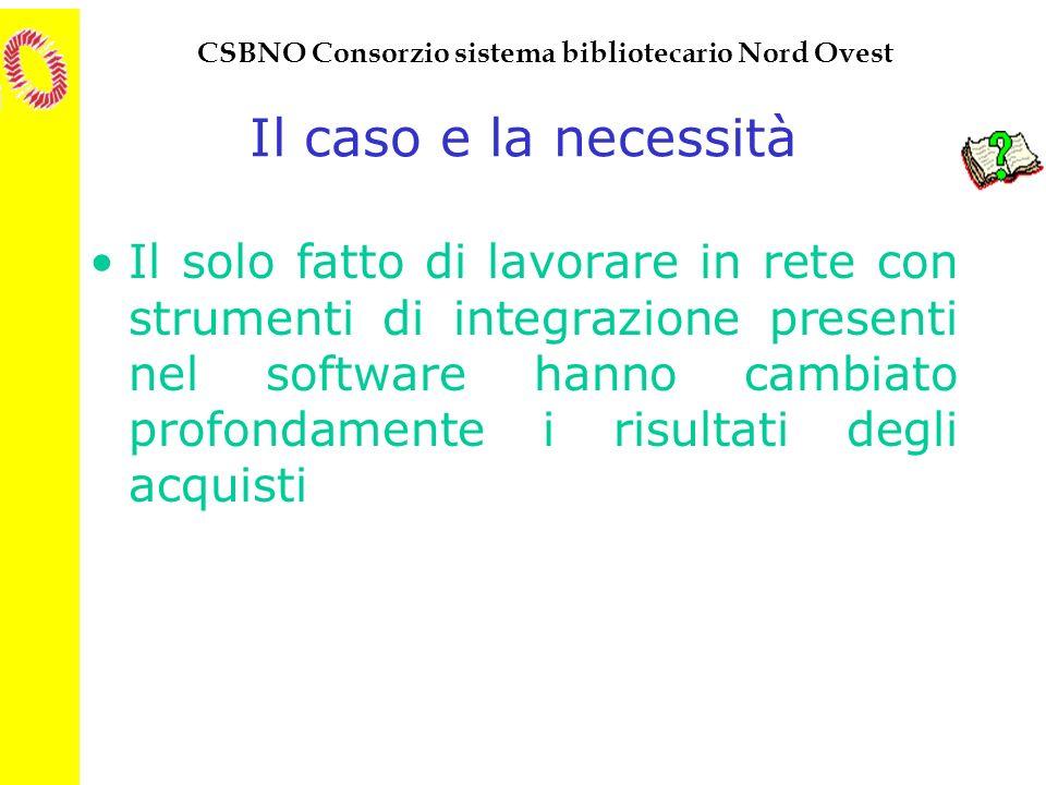 CSBNO Consorzio sistema bibliotecario Nord Ovest Il caso e la necessità Il solo fatto di lavorare in rete con strumenti di integrazione presenti nel s