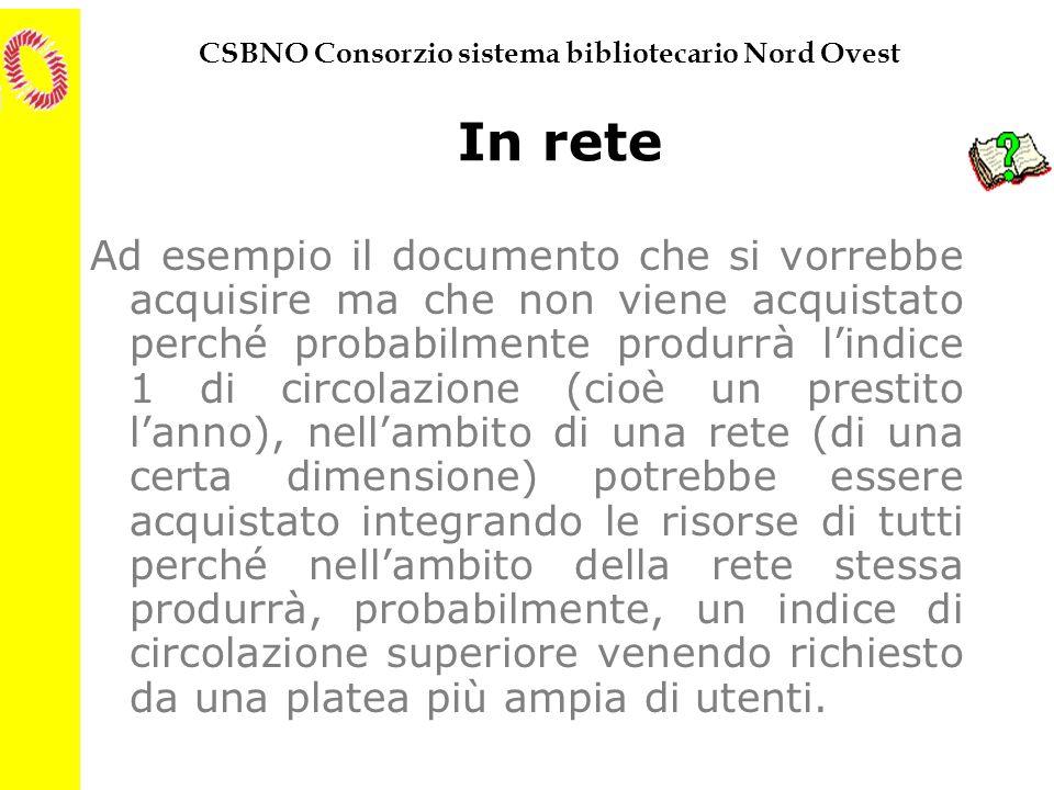 CSBNO Consorzio sistema bibliotecario Nord Ovest In rete Ad esempio il documento che si vorrebbe acquisire ma che non viene acquistato perché probabil