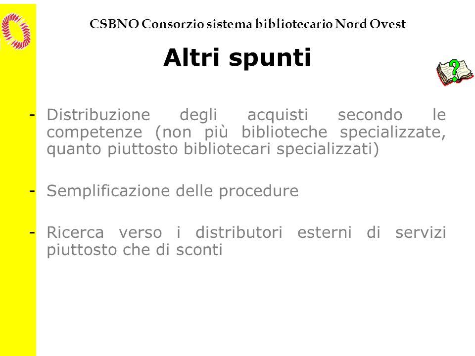 CSBNO Consorzio sistema bibliotecario Nord Ovest Altri spunti -Distribuzione degli acquisti secondo le competenze (non più biblioteche specializzate,