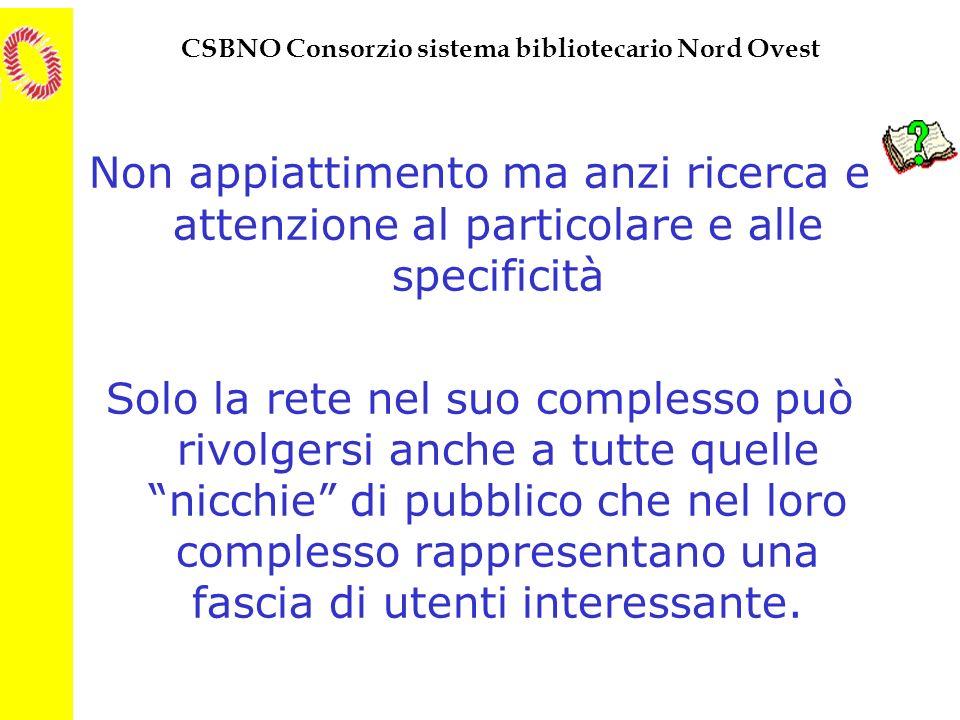 CSBNO Consorzio sistema bibliotecario Nord Ovest Non appiattimento ma anzi ricerca e attenzione al particolare e alle specificità Solo la rete nel suo