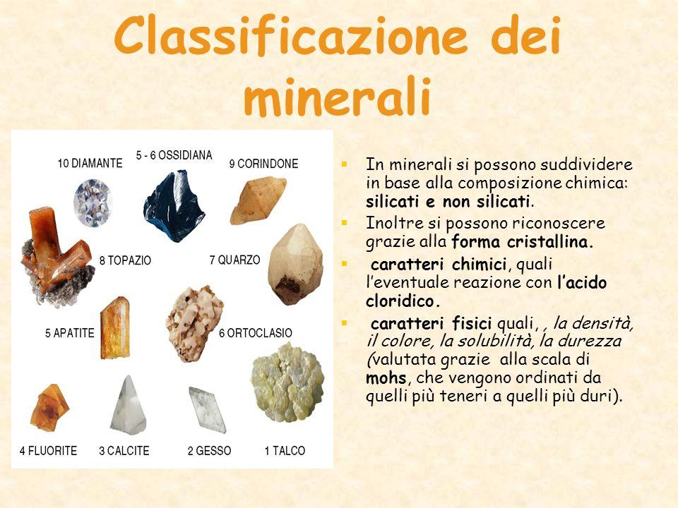 Classificazione dei minerali In minerali si possono suddividere in base alla composizione chimica: silicati e non silicati. Inoltre si possono riconos