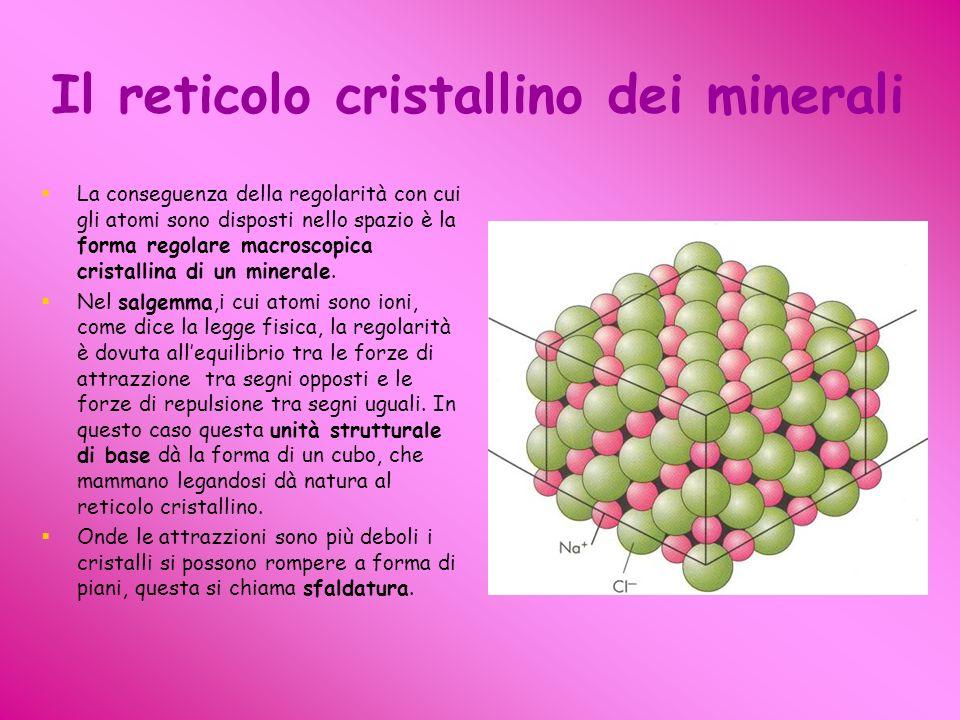 Il reticolo cristallino dei minerali La conseguenza della regolarità con cui gli atomi sono disposti nello spazio è la forma regolare macroscopica cristallina di un minerale.