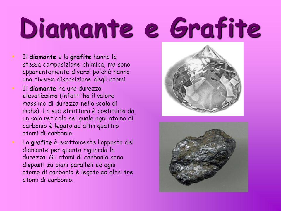 Diamante e Grafite Il diamante e la grafite hanno la stessa composizione chimica, ma sono apparentemente diversi poiché hanno una diversa disposizione degli atomi.