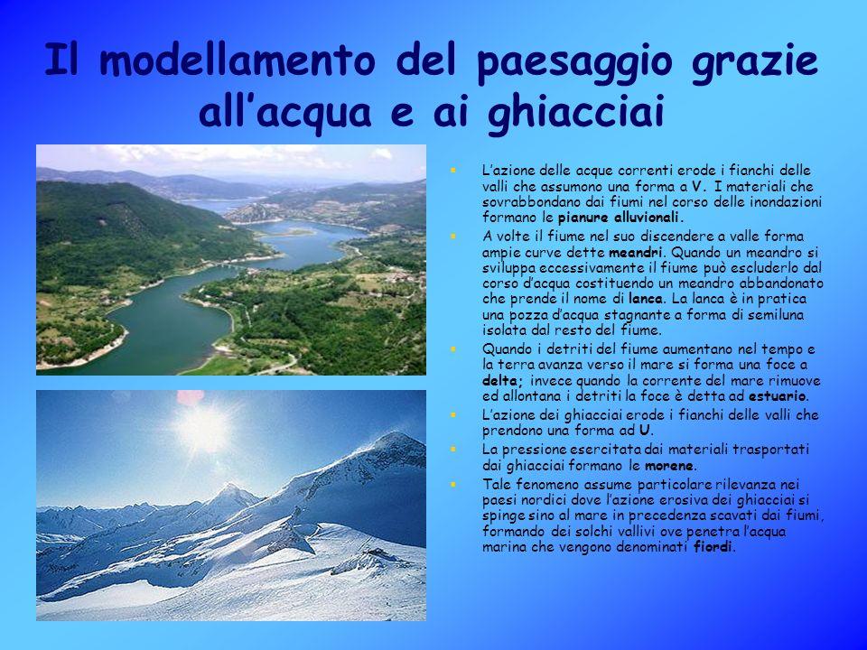 Il modellamento del paesaggio grazie allacqua e ai ghiacciai Lazione delle acque correnti erode i fianchi delle valli che assumono una forma a V.