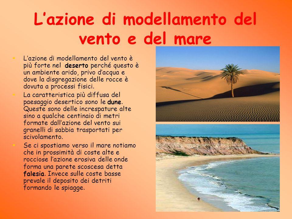 Lazione di modellamento del vento e del mare Lazione di modellamento del vento è più forte nel deserto perché questo è un ambiente arido, privo dacqua e dove la disgregazione delle rocce è dovuta a processi fisici.