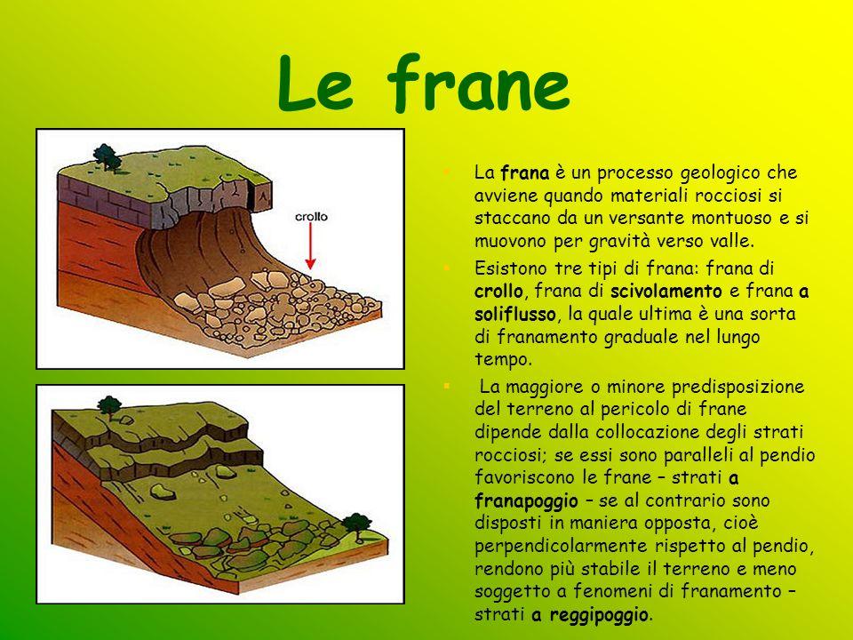 Le frane La frana è un processo geologico che avviene quando materiali rocciosi si staccano da un versante montuoso e si muovono per gravità verso val
