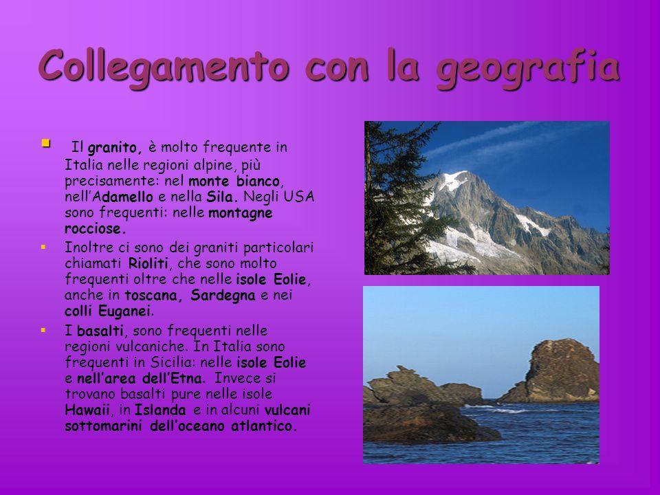 Collegamento con la geografia Il granito, è molto frequente in Italia nelle regioni alpine, più precisamente: nel monte bianco, nellAdamello e nella S
