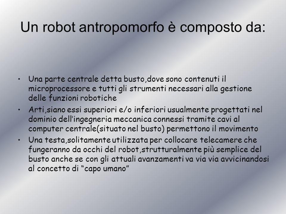 Un robot antropomorfo è composto da: Una parte centrale detta busto,dove sono contenuti il microprocessore e tutti gli strumenti necessari alla gestio
