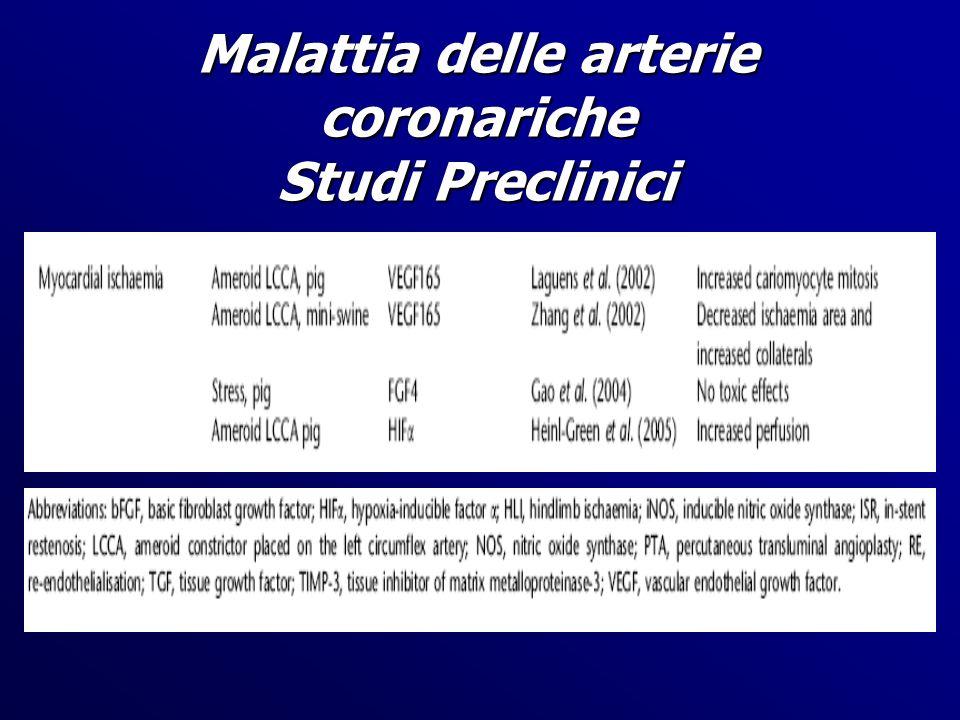 Malattia delle arterie coronariche Studi Preclinici