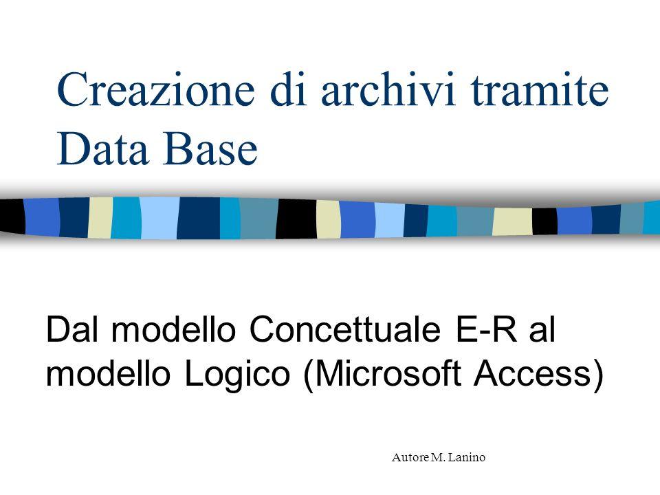 Creazione di archivi tramite Data Base Dal modello Concettuale E-R al modello Logico (Microsoft Access) Autore M. Lanino