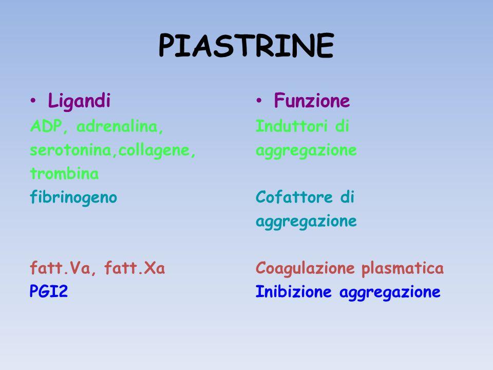 PIASTRINE Ligandi ADP, adrenalina, serotonina,collagene, trombina fibrinogeno fatt.Va, fatt.Xa PGI2 Funzione Induttori di aggregazione Cofattore di ag