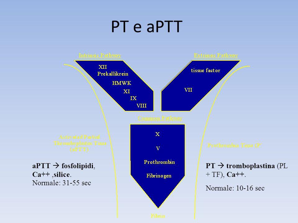 PT e aPTT PT tromboplastina (PL + TF), Ca++. Normale: 10-16 sec aPTT fosfolipidi, Ca++,silice. Normale: 31-55 sec