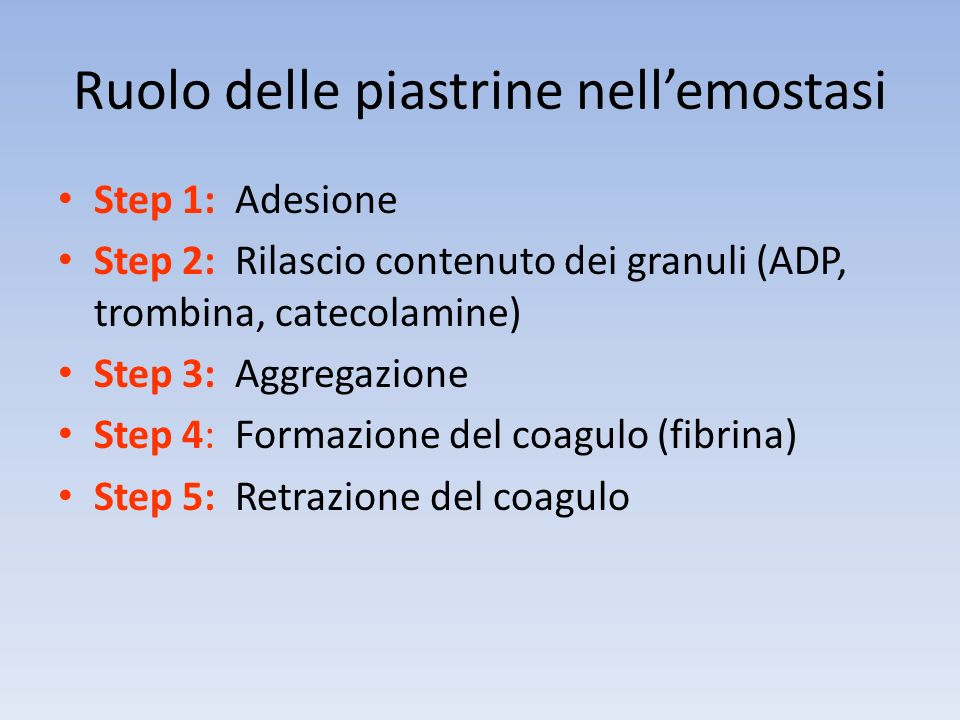 PIASTRINE Ligandi ADP, adrenalina, serotonina,collagene, trombina fibrinogeno fatt.Va, fatt.Xa PGI2 Funzione Induttori di aggregazione Cofattore di aggregazione Coagulazione plasmatica Inibizione aggregazione
