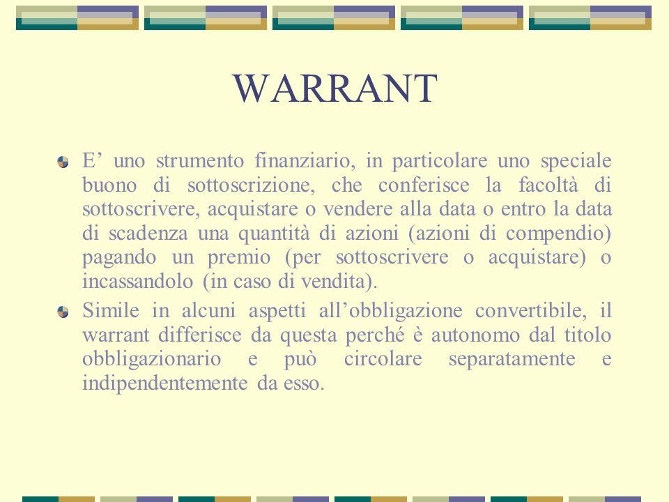 WARRANT E uno strumento finanziario, in particolare uno speciale buono di sottoscrizione, che conferisce la facoltà di sottoscrivere, acquistare o ven