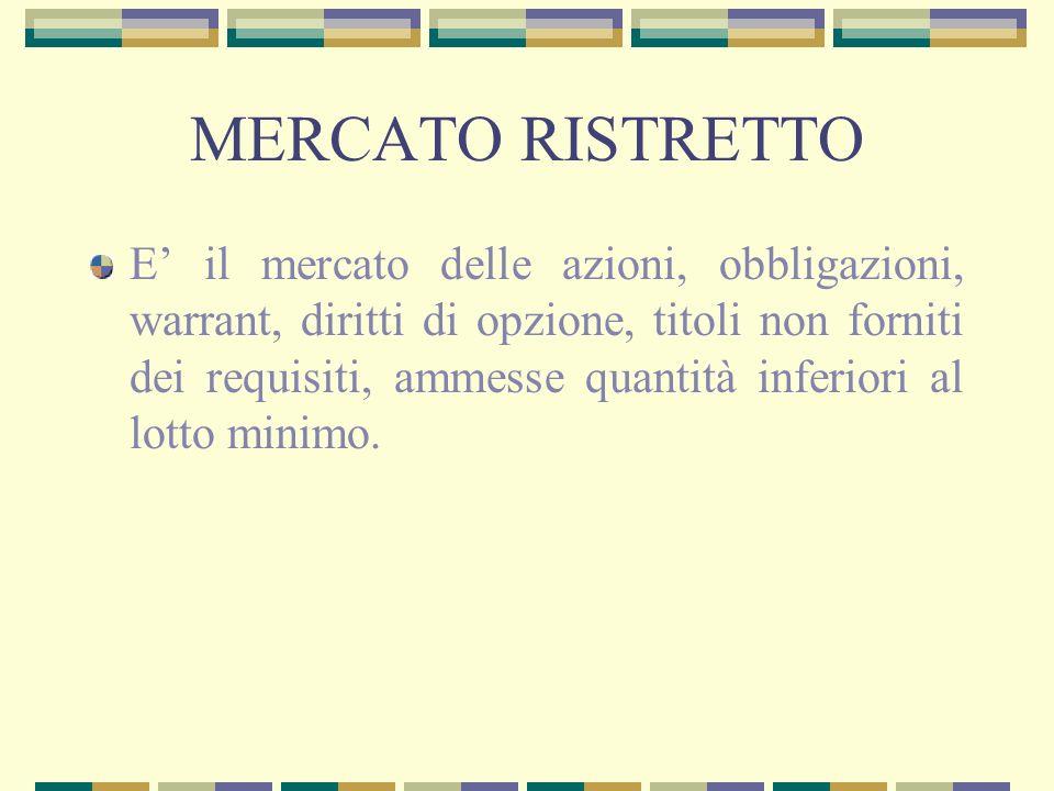 MERCATO RISTRETTO E il mercato delle azioni, obbligazioni, warrant, diritti di opzione, titoli non forniti dei requisiti, ammesse quantità inferiori a