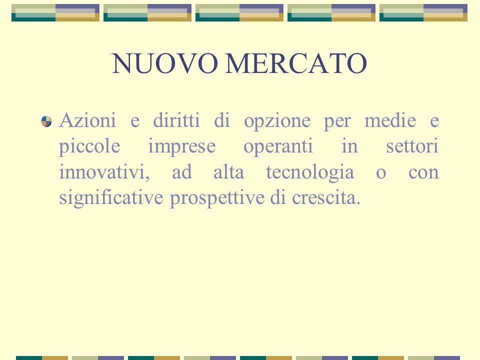 NUOVO MERCATO Azioni e diritti di opzione per medie e piccole imprese operanti in settori innovativi, ad alta tecnologia o con significative prospetti