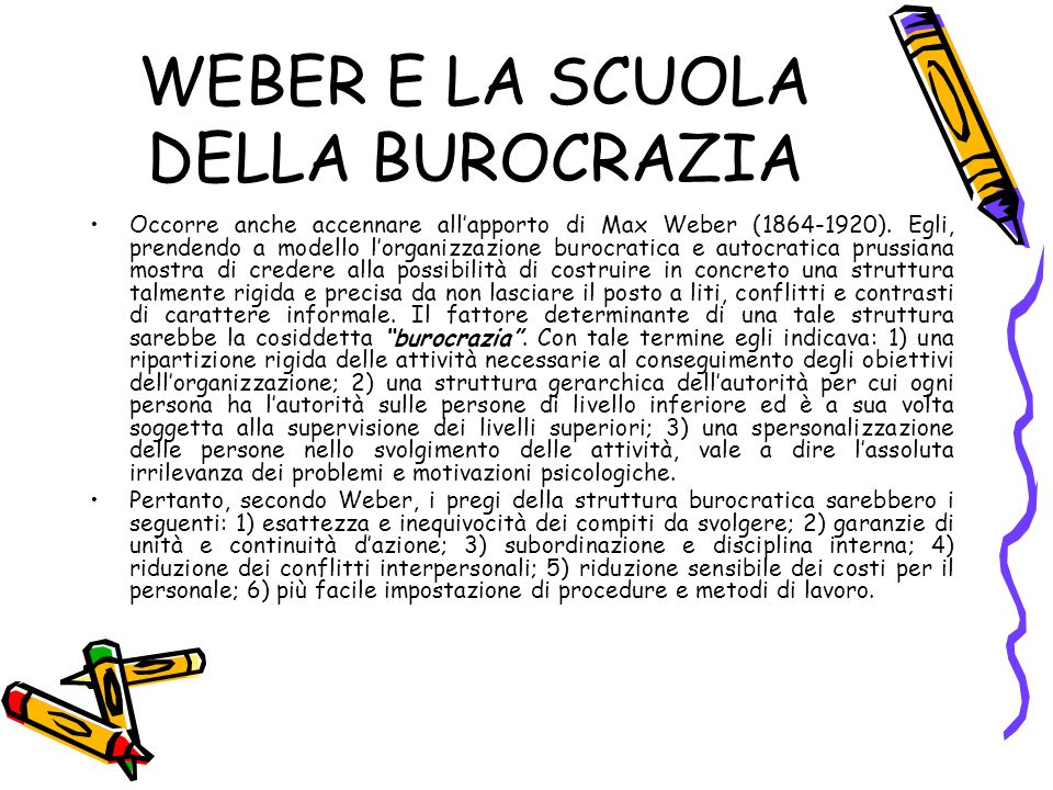 WEBER E LA SCUOLA DELLA BUROCRAZIA Occorre anche accennare allapporto di Max Weber (1864-1920).
