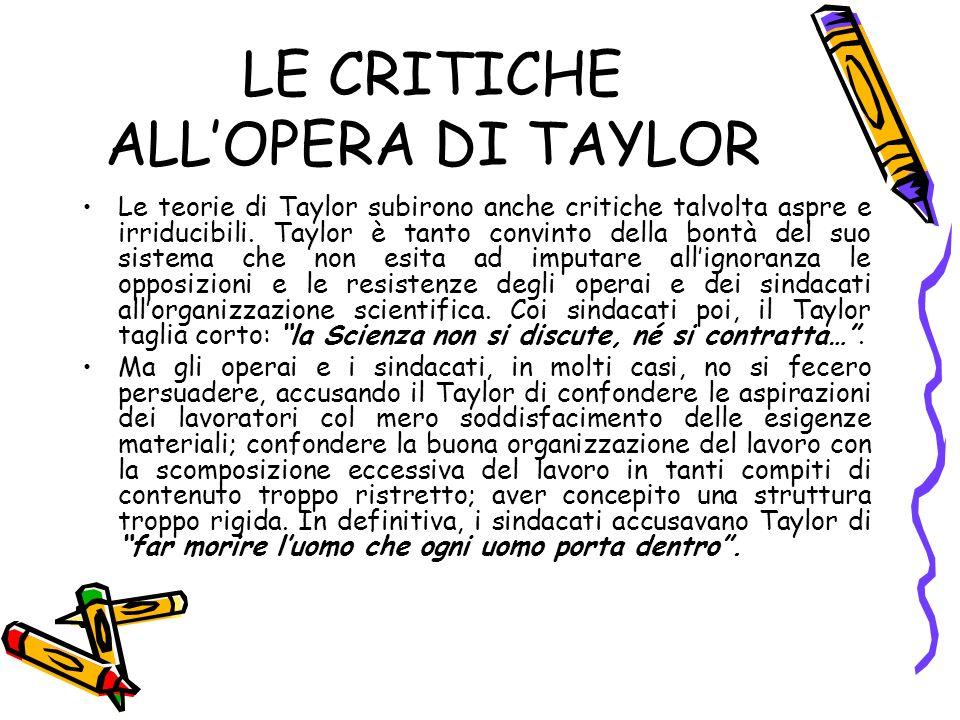 LE CRITICHE ALLOPERA DI TAYLOR Le teorie di Taylor subirono anche critiche talvolta aspre e irriducibili.