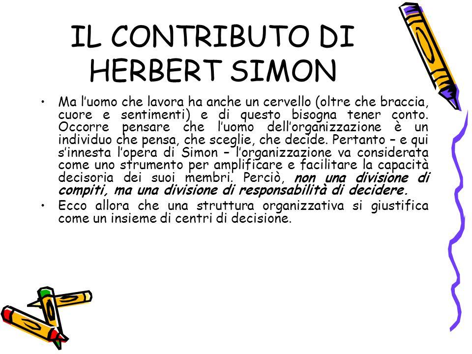 IL CONTRIBUTO DI HERBERT SIMON Ma luomo che lavora ha anche un cervello (oltre che braccia, cuore e sentimenti) e di questo bisogna tener conto.
