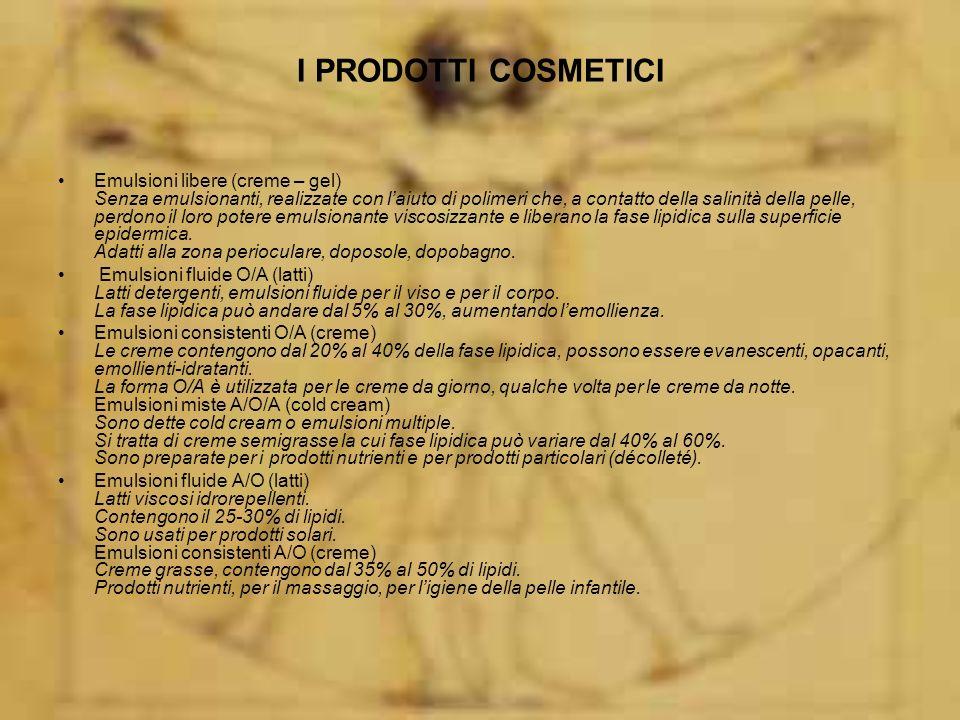 I PRODOTTI COSMETICI Emulsioni A/S (acqua in siliconi) Forma cosmetica nuova.