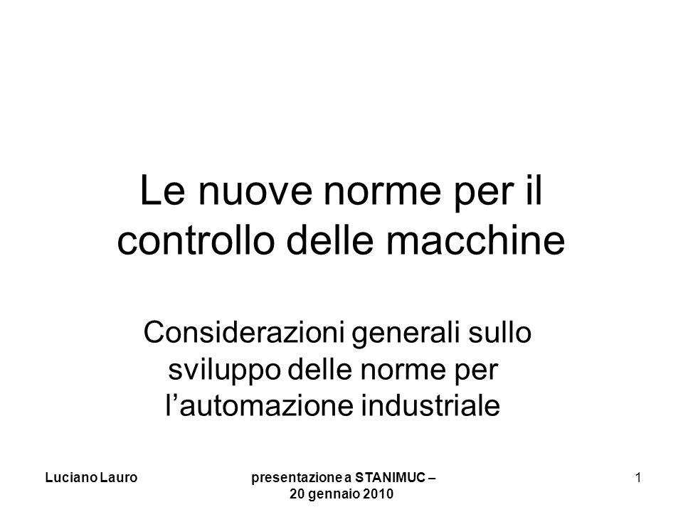 Luciano Lauro presentazione a STANIMUC – 20 gennaio 2010 2 Attuale situazione della programmazione CN Lo standard attuale in fase di revisione ISO 6983:1982, con ISO 841:2001 per il nome degli assi, risale alla fine degli anni 60 ed era fatto per il nastro perforato.