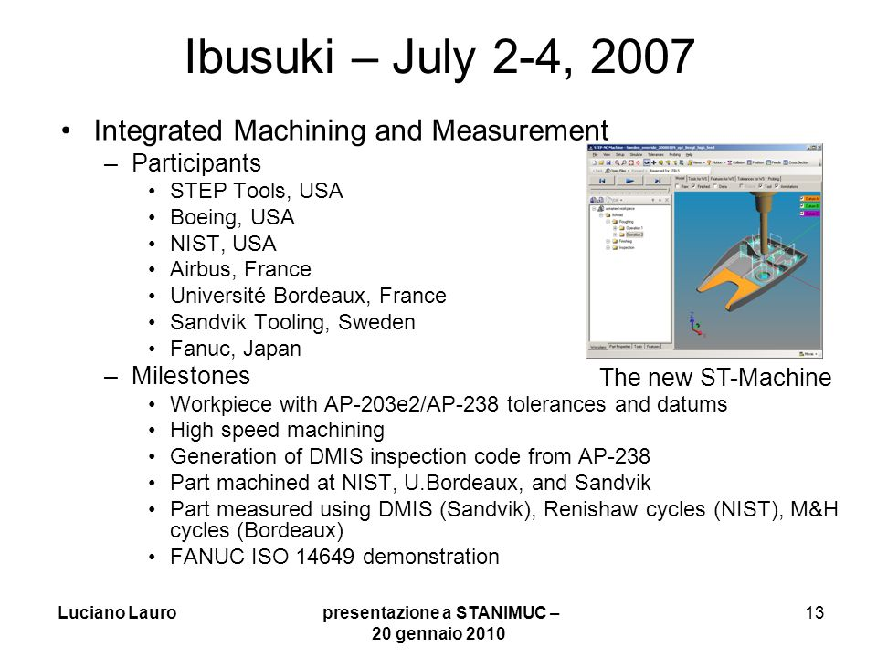 Luciano Lauro presentazione a STANIMUC – 20 gennaio 2010 13 Ibusuki – July 2-4, 2007 Integrated Machining and Measurement –Participants STEP Tools, US