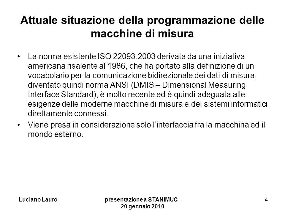 Luciano Lauro presentazione a STANIMUC – 20 gennaio 2010 5 Commenti sulla situazione della programmazione macchine di misura Come per il controllo numerico delle macchine la attuale norma DMIS continua ad essere focalizzata sullinterfaccia fra macchina di misura e mondo esterno.