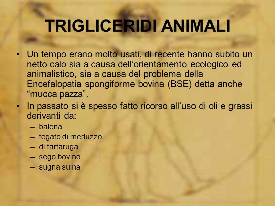 TRIGLICERIDI ANIMALI Un tempo erano molto usati, di recente hanno subito un netto calo sia a causa dellorientamento ecologico ed animalistico, sia a c