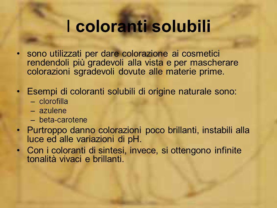 I coloranti solubili sono utilizzati per dare colorazione ai cosmetici rendendoli più gradevoli alla vista e per mascherare colorazioni sgradevoli dov