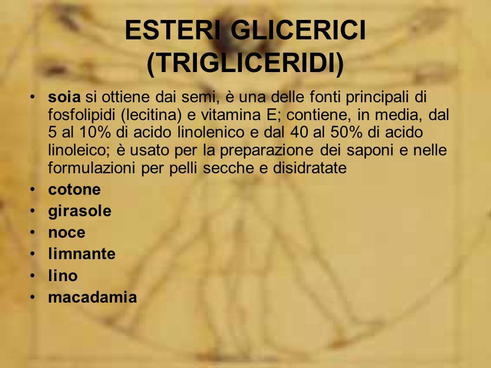 ESTERI GLICERICI (TRIGLICERIDI) soia si ottiene dai semi, è una delle fonti principali di fosfolipidi (lecitina) e vitamina E; contiene, in media, dal