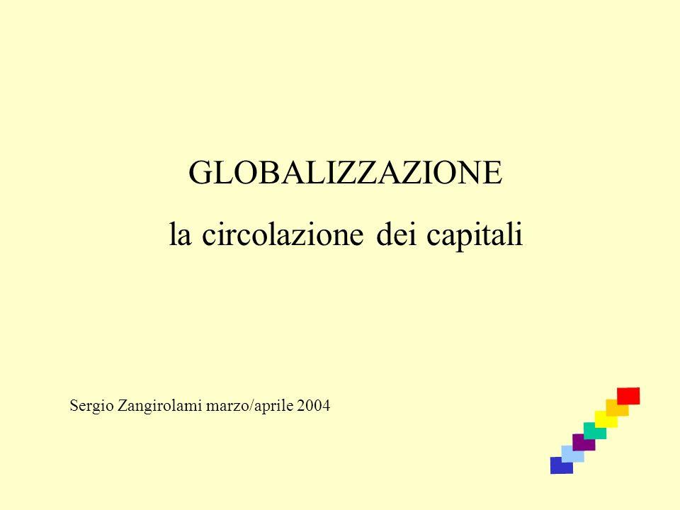 GLOBALIZZAZIONE la circolazione dei capitali Sergio Zangirolami marzo/aprile 2004