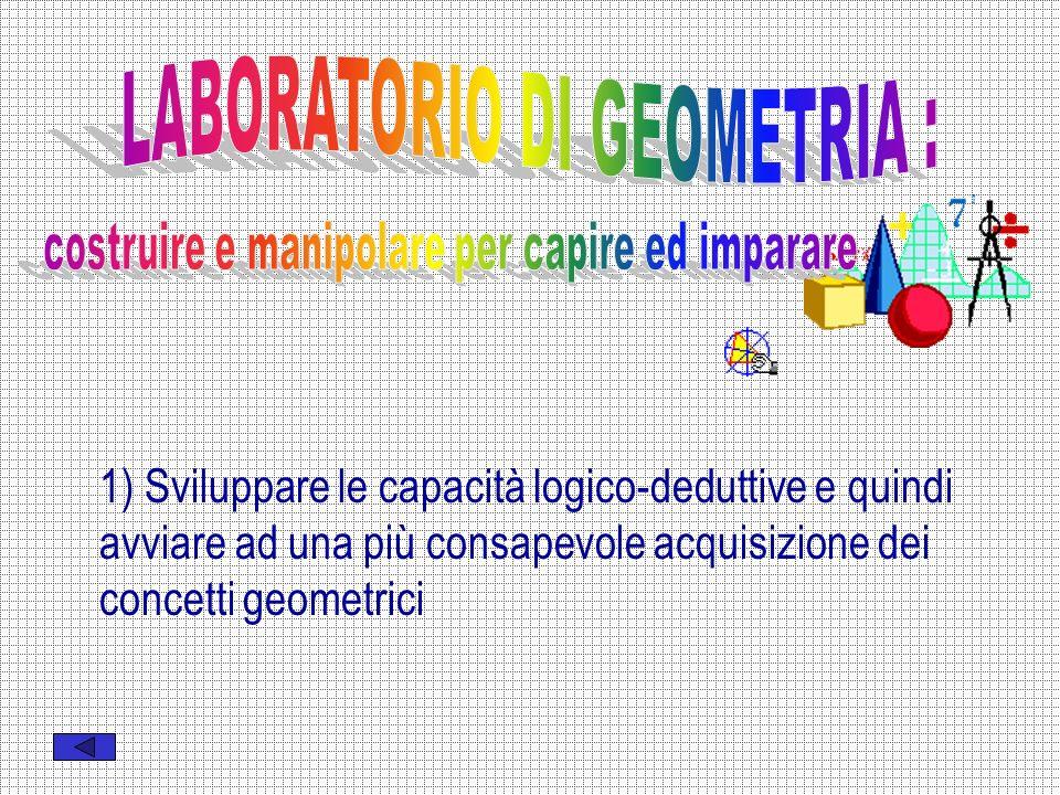 1) Sviluppare le capacità logico-deduttive e quindi avviare ad una più consapevole acquisizione dei concetti geometrici