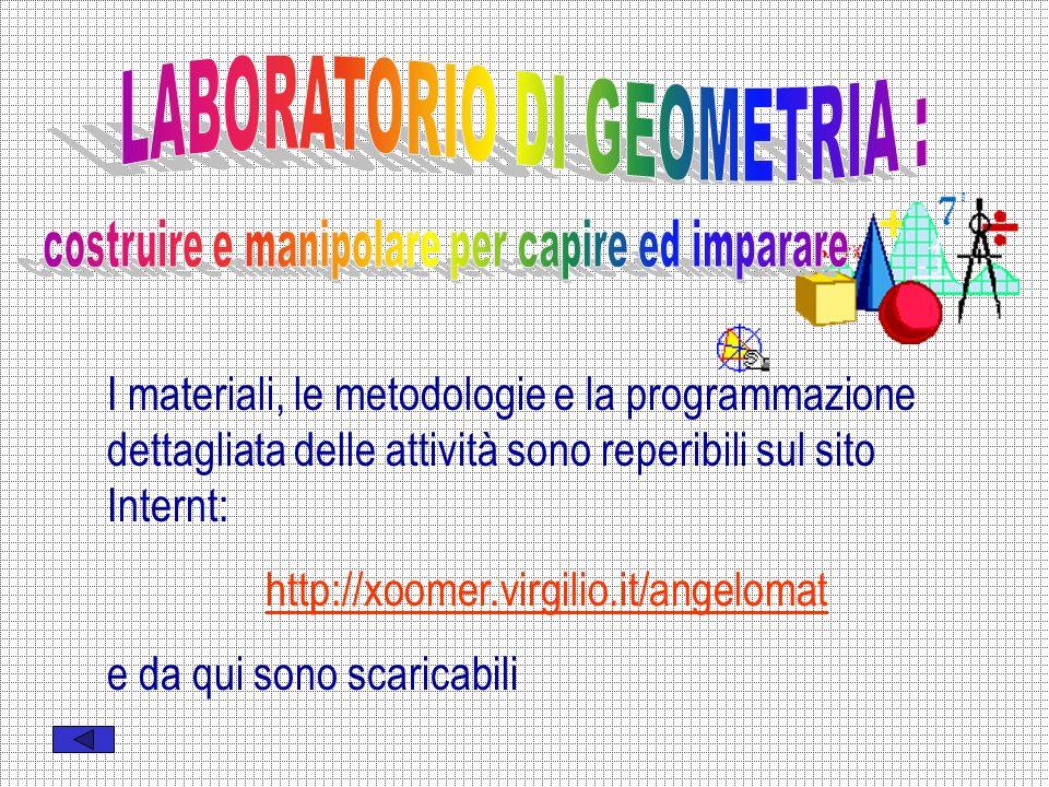 I materiali, le metodologie e la programmazione dettagliata delle attività sono reperibili sul sito Internt: http://xoomer.virgilio.it/angelomat e da qui sono scaricabili