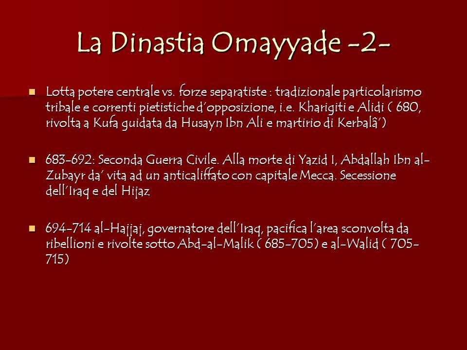 La Dinastia Omayyade -2- Lotta potere centrale vs. forze separatiste : tradizionale particolarismo tribale e correnti pietistiche dopposizione, i.e. K
