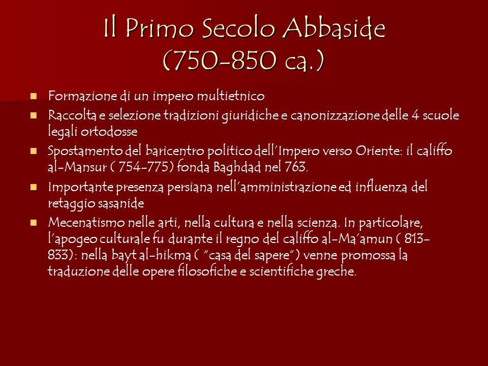 Il Primo Secolo Abbaside (750-850 ca.) Formazione di un impero multietnico Raccolta e selezione tradizioni giuridiche e canonizzazione delle 4 scuole
