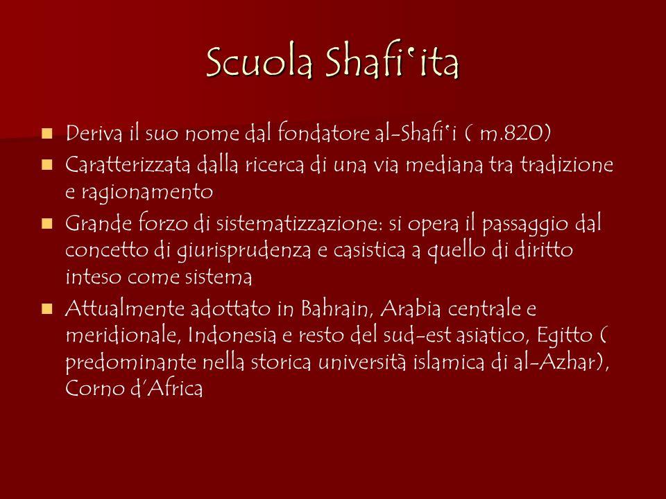 Scuola Shafi ita Deriva il suo nome dal fondatore al-Shafi i ( m.820) Caratterizzata dalla ricerca di una via mediana tra tradizione e ragionamento Gr