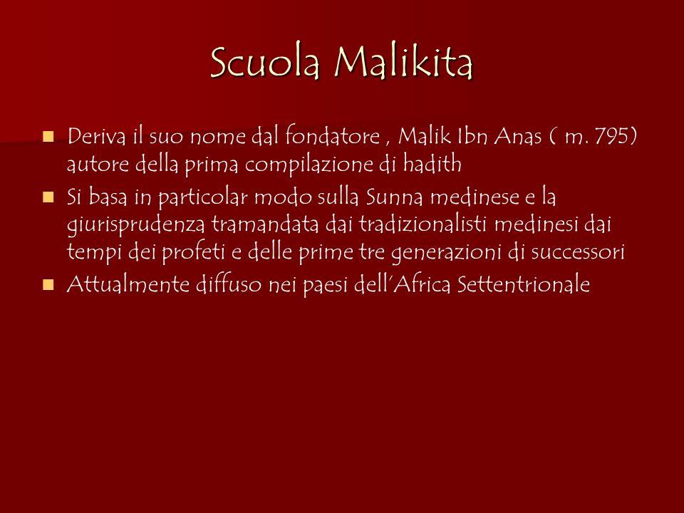 Scuola Malikita Deriva il suo nome dal fondatore, Malik Ibn Anas ( m. 795) autore della prima compilazione di hadith Si basa in particolar modo sulla