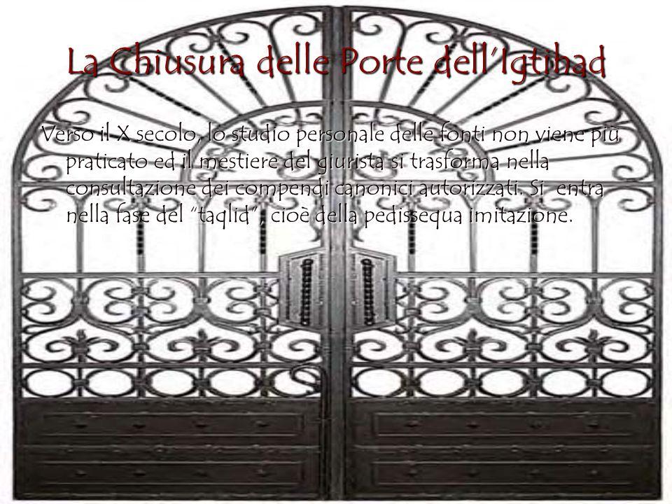 La Chiusura delle Porte dellIgtihad Verso il X secolo, lo studio personale delle fonti non viene più praticato ed il mestiere del giurista si trasform