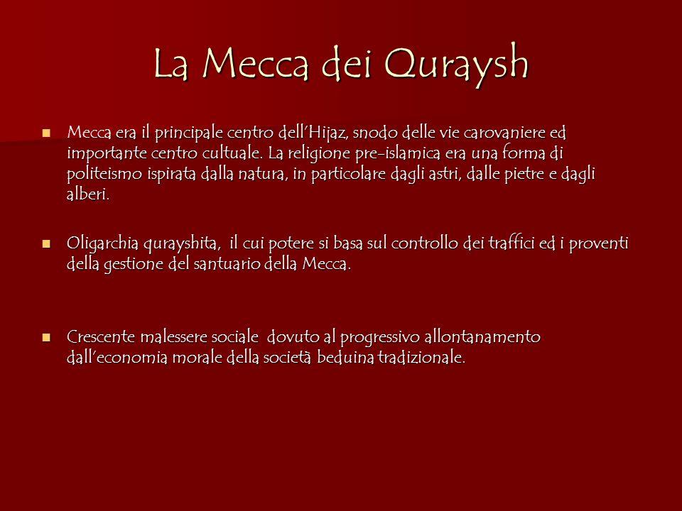 La Mecca dei Quraysh era il principale centro dellHijaz, snodo delle vie carovaniere ed importante centro cultuale. La religione pre-islamica era una
