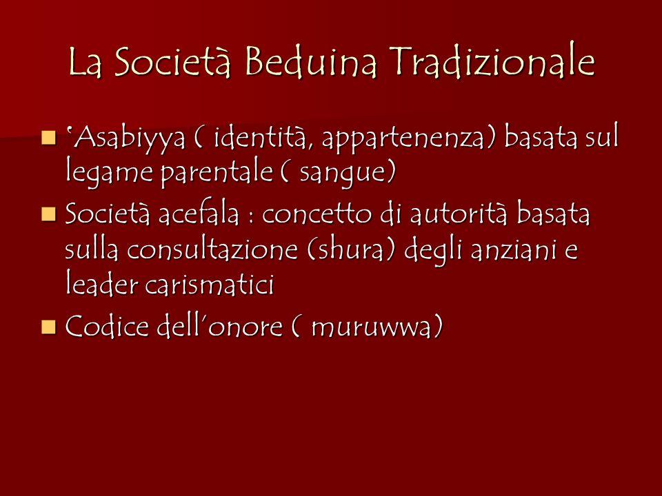 La Società Beduina Tradizionale Asabiyya ( identità, appartenenza) basata sul legame parentale ( sangue) Asabiyya ( identità, appartenenza) basata sul