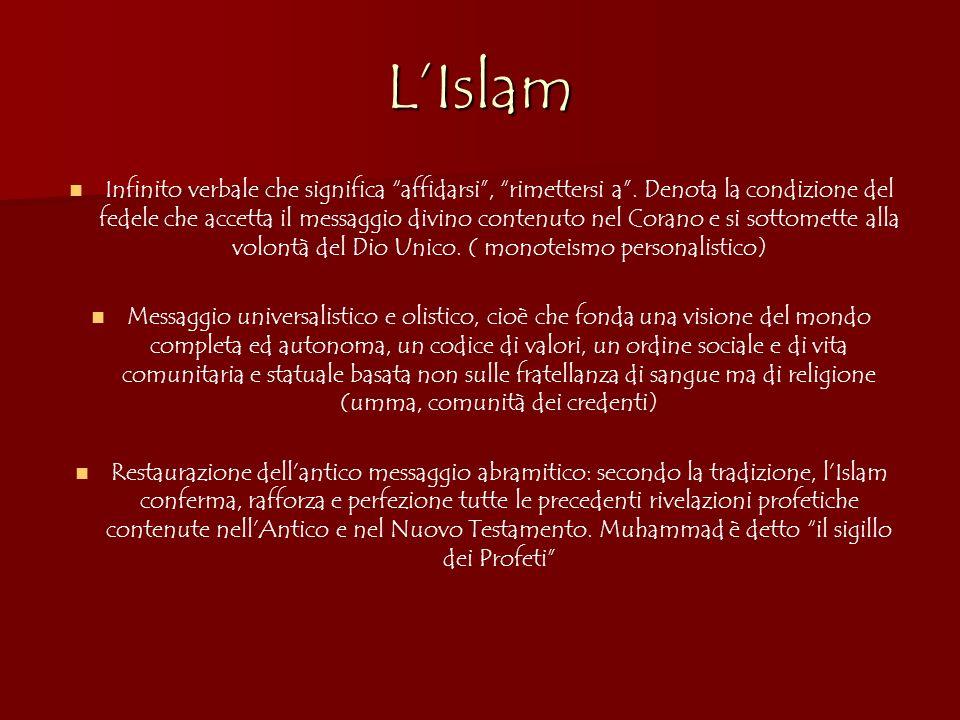 LIslam Infinito verbale che significa affidarsi, rimettersi a. Denota la condizione del fedele che accetta il messaggio divino contenuto nel Corano e