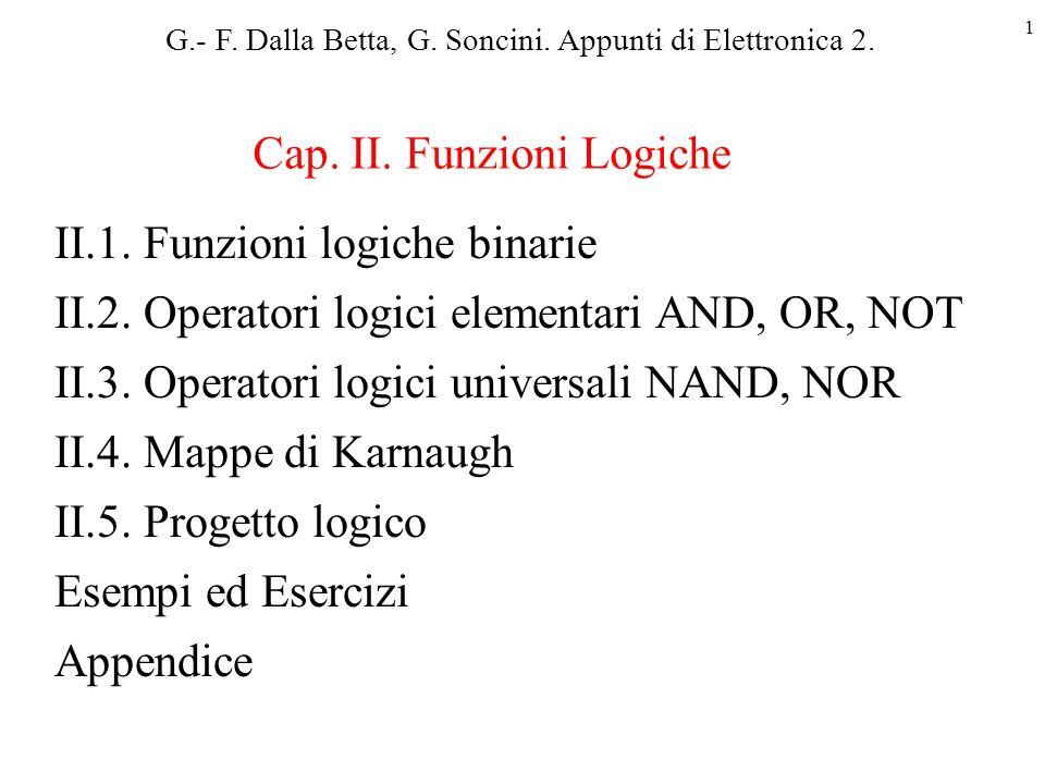 1 II.1.Funzioni logiche binarie II.2. Operatori logici elementari AND, OR, NOT II.3.