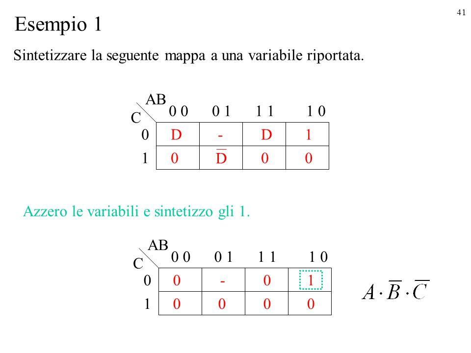 41 1 D 0 0 0-1 0 0 11 01 D 0 AB C Esempio 1 D 1 0 0 0 0-1 0 0 11 01 0 0 AB C 0 Azzero le variabili e sintetizzo gli 1.