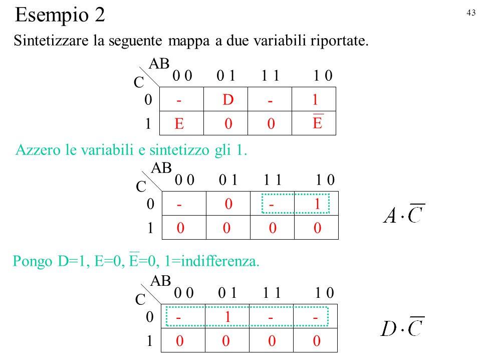 43 1 - E 0 0D1 0 0 11 01 0 AB C Esempio 2 E 1 - 0 0 001 0 0 11 01 - 0 AB C 0 Azzero le variabili e sintetizzo gli 1.