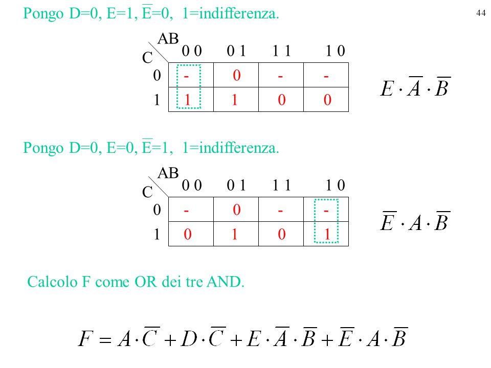 44 1 - 1 0 00- 0 0 11 01 - 0 AB C 1 Pongo D=0, E=1, E=0, 1=indifferenza.