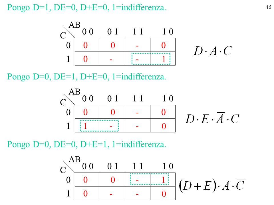 46 1 0 0 0 000 1 0 11 01 - - AB C - Pongo D=1, DE=0, D+E=0, 1=indifferenza.