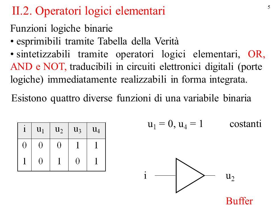 5 Funzioni logiche binarie esprimibili tramite Tabella della Verità sintetizzabili tramite operatori logici elementari, OR, AND e NOT, traducibili in circuiti elettronici digitali (porte logiche) immediatamente realizzabili in forma integrata.