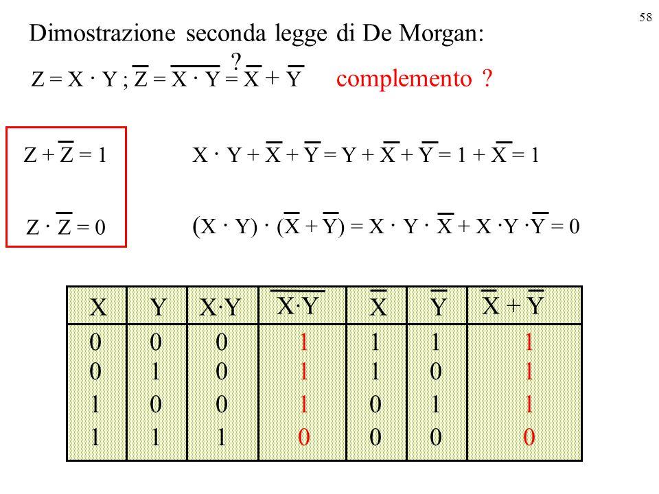 58 Dimostrazione seconda legge di De Morgan: XYX·Y 000 010 100 111 1 1 1 0 Z = X · Y ; Z = X · Y = X + Y .
