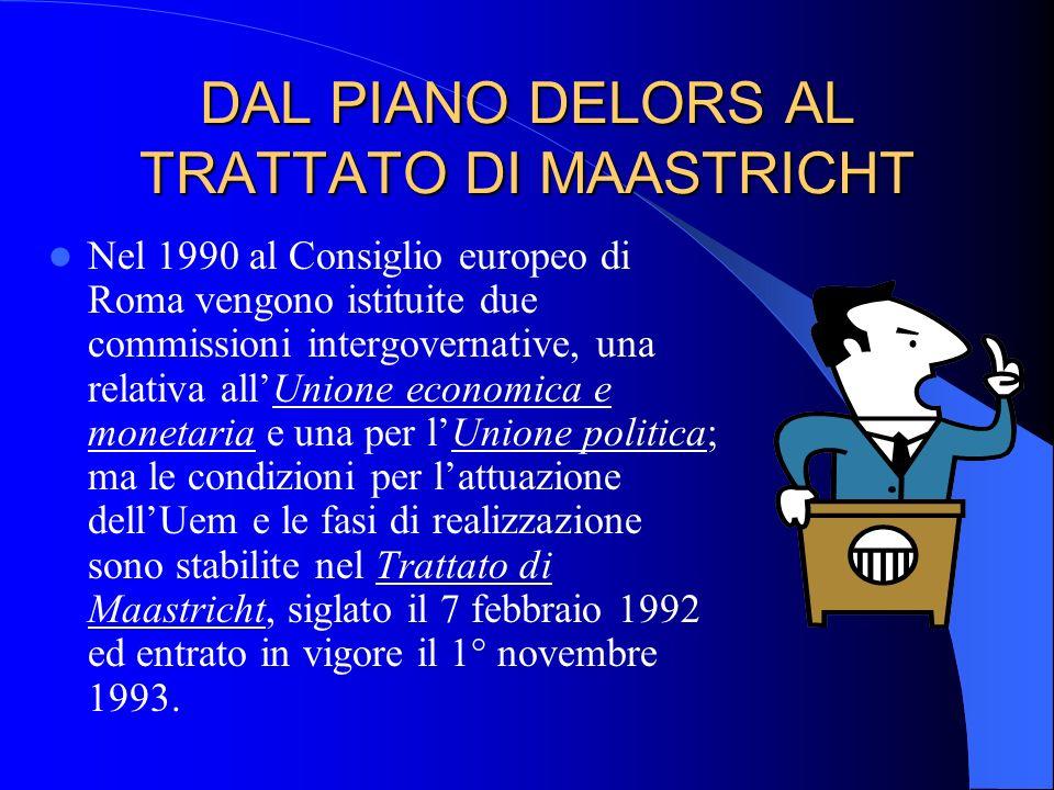 DAL PIANO DELORS AL TRATTATO DI MAASTRICHT Nel 1990 al Consiglio europeo di Roma vengono istituite due commissioni intergovernative, una relativa allU