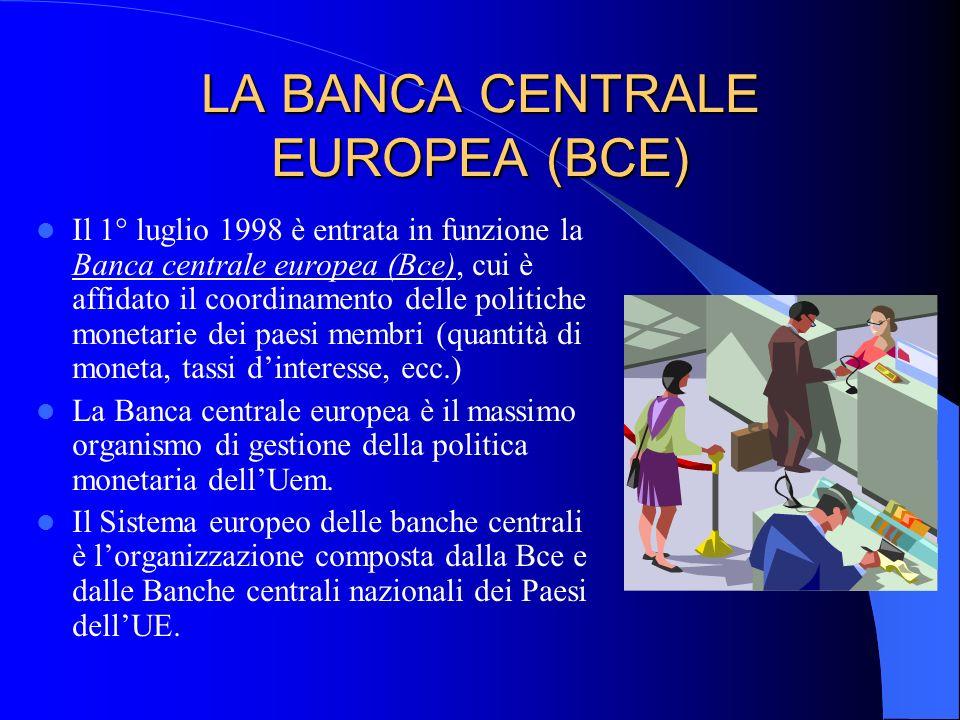 LA BANCA CENTRALE EUROPEA (BCE) Il 1° luglio 1998 è entrata in funzione la Banca centrale europea (Bce), cui è affidato il coordinamento delle politic